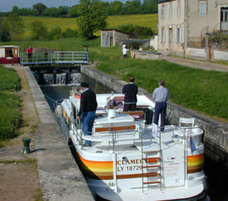 Rental boat in lock